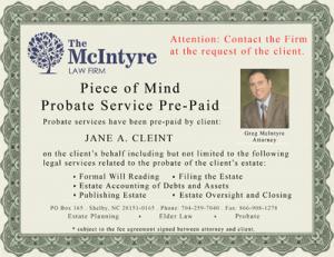 Certificate - Pre-Probate